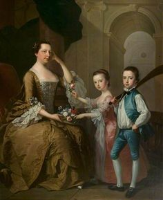 Mrs Matthew Michell and Her Children, Matthew and Anne by Thomas Hudson    Date painted: 1757–1758 Oil on canvas, 191.8 x 161.6 cm Collection: Leicester Arts and Museums Service