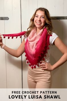 Lovely Luisa Shawl - free crochet pattern on wilmade.com including video tutorial. #crochet #scarf #shawl #wrap #pattern