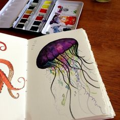 Jellyfish watercolor.  I need to buy this. This artist is amazing by okajewelryshow