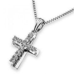 White Gold Diamond Polished Double Layer Religious Cross Pendant with 925 Sterling Silver Chain cttw, G-H color, Clarity) Baptize Jewelry Gift Diamond Earrings For Women, 925 Silver, Sterling Silver, White Gold Diamonds, Cross Pendant, Diamond Pendant, Jewelry Gifts, Jewellery, Women's Earrings