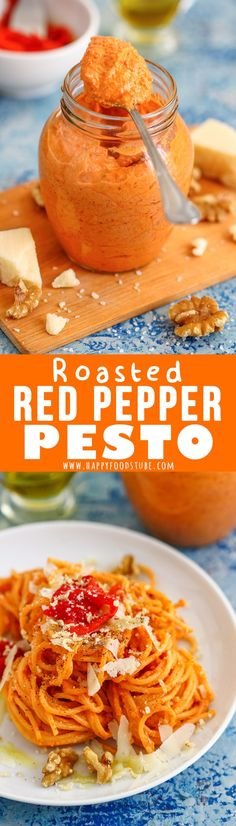 This Roasted Red Pepper Pesto is a great alternative for classic green pesto! It's perfect for quick weeknight dinners as it only takes 5 minutes to make. #pesto #redpesto #recipe #roastedpepper #vegetarian #glutenfree #homemade #howtomake via @happyfoodstube