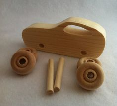 Wooden Toy Car -KIT-Made from Recycled Wood on Etsy, $6.00