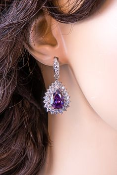 Wedding Earrings Zirconia Teardrop Earrings by SwanSignature