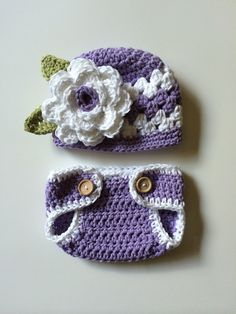 Crochet baby girl hat purple and white hat and by MRocheCrochet