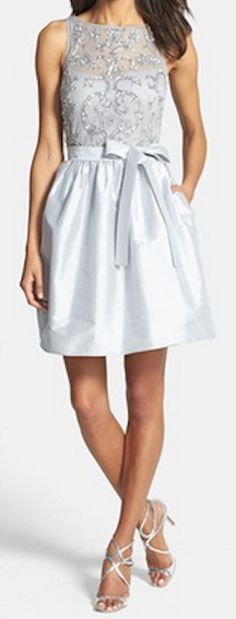 Aidan Mattox Embellished Bodice Taffeta Fit & Flare Dress available at Beautiful Gowns, Beautiful Outfits, Pretty Outfits, Pretty Dresses, Dress Skirt, Dress Up, Satin Dresses, Taffeta Dress, Fit Flare Dress