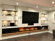 Best Modern Fireplace TV Wall Layouts Amazing Best Fireplace TV Wall Ideas – The Good Advice For Mounting TV above Fireplace - Modern living room with electric fireplace enclosed under TV wall Image 35 Tv Above Fireplace, Home Fireplace, Modern Fireplace, Living Room With Fireplace, Fireplace Design, Fireplace Ideas, Wall Fireplaces, Modern Electric Fireplace, Wall Mounted Fireplace