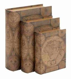 Vintage Old World Map Decorative Leather Storage Book Box Set of 3