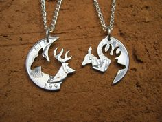 Buck and Doe Quarter Necklace, Browning, Deer, Puzzle, interlocking, Engaged Couples. $39.99, via Etsy.