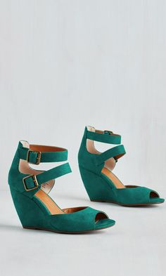 dark green suede wedges