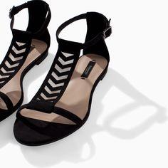 FLAT LATTICE SANDAL - Shoes - WOMAN | ZARA United States