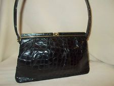 Vintage 30's black crocodile skin soft bodied handbag purse