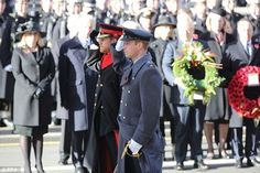 Prince William and Prince Harry during the Remembrance Sunday ceremony at the Cenotaph in London, where they saluted and laid wreaths