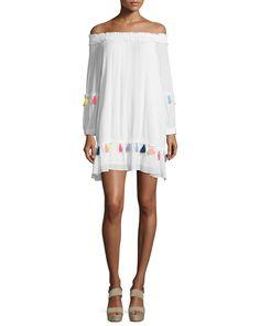 Misa Los Angeles Camilla Off-The-Shoulder Tassel Dress, Pearl/Multi