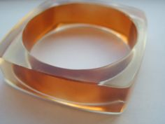 Vintage Square Clear Plastic Bangle with Colored by LincaraVintage, $15.00