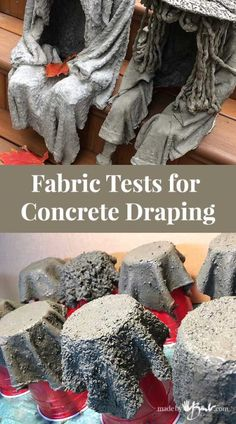 Fabric Tests for Concrete Draping - Made By Barb - cement dipped fibres Concrete draping tutorial. Tests of 8 kinds of different fabrics & fibres for portland cement dipping to make draped concrete pots or characters. Diy Concrete Planters, Concrete Cement, Concrete Garden, Diy Planters, Cement Art, Concrete Furniture, Urban Furniture, Cement Bench, Concrete Light