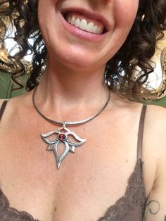 Handmade Garnet Silver Lotus Pendant! Yours truly modelling! Available with other gems at www.melissacaron.com