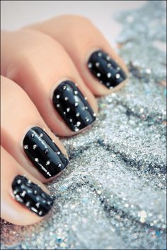 studded nails - using glass beads in wet black polish