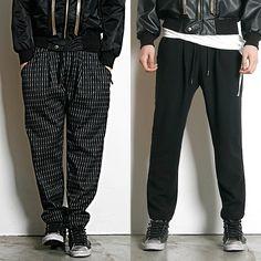 Remember Click Drawstring Tapered Pants BLACK STRIPE ONE SIZE Korean Wear #RememberClick #CasualPants