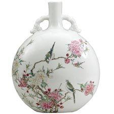 Moon-shaped flask with birds Jingdezhen, Jiangxi province, China Qing dynasty, Yongzheng mark/period, AD 1723-35