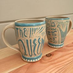 SALE Mug - The Queen is Not Amused - Turquoise - Wheel Thrown - Sgraffito