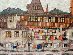 Egon Schiele - Haus mit trocknender Wäsche