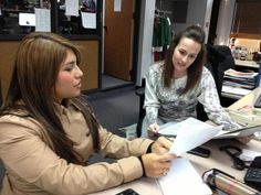 Ashley Gaston: Leslie Rangel and I preparing for the 5:30 pm newscast.