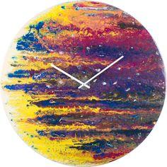 Purple and Yellow Circular Wall Clock