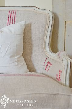 Love the grain sack upholstery via Miss Mustard Seed