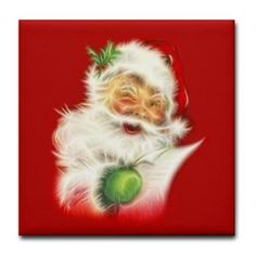 new at @CafePress : #Fractal #Santa Tile #Coaster From old into new! From a vintage Santa to a #trendy fractal Santa Claus with a wishlist!  $5.19