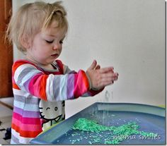 Dyed rice is a wonderful, calming sensory play material for kids!