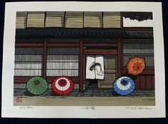 JAPANESE WOODBLOCK PRINT KATSUYUKI NISHIJIMA Japanese Art Styles, Japanese Artwork, Japanese Painting, Japanese Prints, Kids Printmaking, Bubble Umbrella, Oriental, Japan Image, Art Japonais