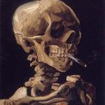 Head of a skeleton with a burning cigarette, 1886 Vincent van Gogh Oil on Canvas, 32 X cm Van Gogh Museum, Amsterdam. The painting was created while van Gogh was a student at the Académie Royale des Beaux-Arts in Antwerp, Belgium. Art Inspiration, Van Gogh, Van Gogh Museum, Illustration Art, Art, Artwork, Skull Art, Vincent Van Gogh, Love Art