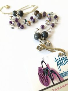 Purple Beaded Lanyard Necklace ID Badge Necklace by JulemiJewelry
