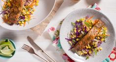 Crunchy, spicy, tangy and downright delicious! This Salmon with Fresh Asian Slaw is perfect for a quick and nutritious meal. Asian Recipes, Easy Recipes, Easy Meals, Dinner Recipes, Asian Slaw, Atlantic Salmon, Spring Recipes, Nutritious Meals, Nom Nom
