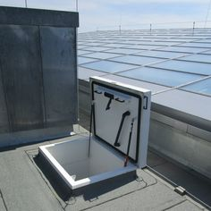 Roof hatch for school roof maintenance – Staka Roof hatches Roof Access Hatch, Roof Hatch, Air Conditioning Units, Roof Window, Rooftop Terrace, Flat Roof, Ladder, Loft, School