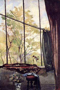 "Henri Joseph Harpignies (French, 1819-1916) - ""In the studio"" - Watercolour"
