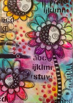 This makes me happy !!! #art #abstract #acrylics #artjournal #artjournalling #artjournalpage #background #doodle #dinawakley #dylusionspaint #dylusionsjournal #flowers #intuitiveart #intuitivepainting #journal #layers #mixedmedia #mixedmediaart #pen #paint #stamp #whimsy