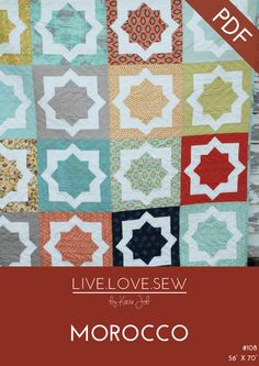 """Measuring a 56""""x 70"""", Moroccois the perfect lap or throw quilt. Made up using Fat Quarters, this quilt is ideal for showcasing some of your favourite fabrics, bold colours and larger prints. A pat..."""
