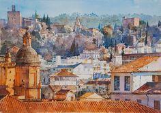 Geoffrey Wynne Acuarelas - Watercolours: TEJADOS DE GRANADA - GRENADE ROOFS