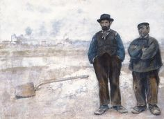 Two Workmen by Jean Francois Raffaelli (French 1850-1924)