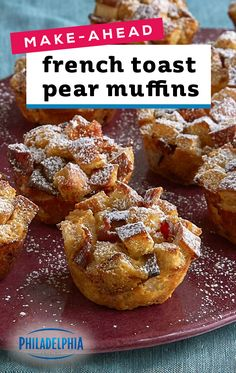 Make-Ahead Pear French Toast Muffins – For a fun, new recipe for your breakfas. Muffin Recipes, Brunch Recipes, Fall Recipes, New Recipes, Dessert Recipes, Cooking Recipes, Favorite Recipes, Christmas Recipes, Thanksgiving Recipes