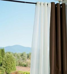 """UV-Resistant Outdoor 50""""W x 108""""L Grommet Top Solid Curtain in White by Plow & Hearth®. $69.95. 2"""" bottom hem. Easy-care, UV-resistant polyester won't fade or mildew. Machine Wash Panels. Outdoor Curtain Panels. Our grommet-top panels bring the comfort and softness of your living room to your favorite outdoor spaces. Beautifully styled in 100% yarn-dyed polyester fabric, these panels withstand harsh UV rays, resist fading, repel water and are mildew proof. Each panel features e..."""