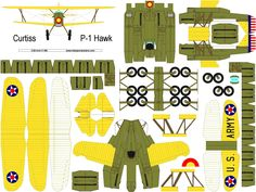 4D model template of Curtiss P-1 Hawk. Good for fly or display. DIY model, nice for hobby. #4dpa