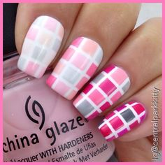 An ombre tiled look, using far too many polishes to even attempt to mention.