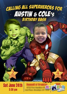 Your boys can be the Avengers! Turn them into Hulk and Iron man for their unique superhero Avengers Birthday Invitation. Nice Sample. Siblings Superheroes Invitation. Siblings Superheroes Birthday Ideas. #myheroathome