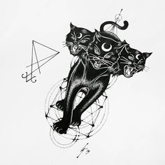 Cerberus black cat with Kaballah tree of life geometry and a Sigil for Tria…