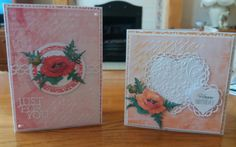 5 x 7 and 6 x 6 cards made using Charisma poppy die and papers which came free with Tattered Lace magazine.  Sentiment on pink card from Trimcraft.