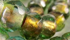 5 Green and Gold Czech Glass Roller 12mm x 8mm Faceted Rondelle Jewelry Beads with Large 5mm Holes