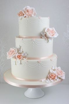 Wedding Cakes - The Fairy Cakery - Swag pipping and light pink roses