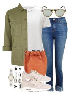 """""""Sin título #4274"""" by hellomissapple ❤ liked on Polyvore featuring Topshop, Westward Leaning, Mansur Gavriel, NIKE and Burberry"""